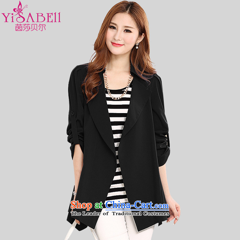 Athena Chu, Isabel 2015 to increase the number of women with thick MM windbreaker wild temperament lapel video in thin long Wind Jacket Sau San Cardigan 1122 Black 4XL_ recommendations 160-175 catty_