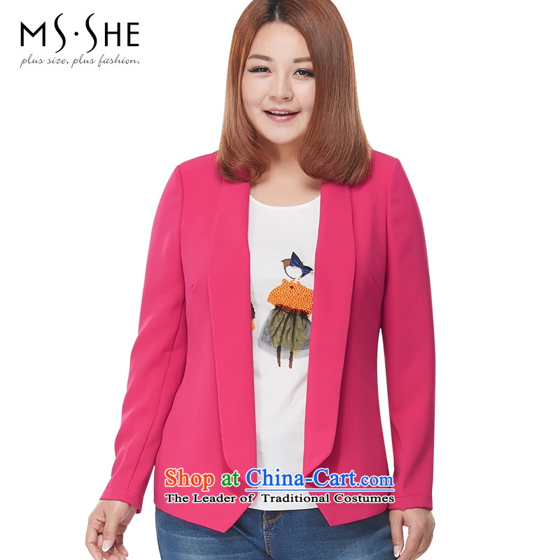 Large msshe women 2015 new autumn replacing thick MM cardigan chiffon suit thick COAT 2896 in sister Red? 2XL