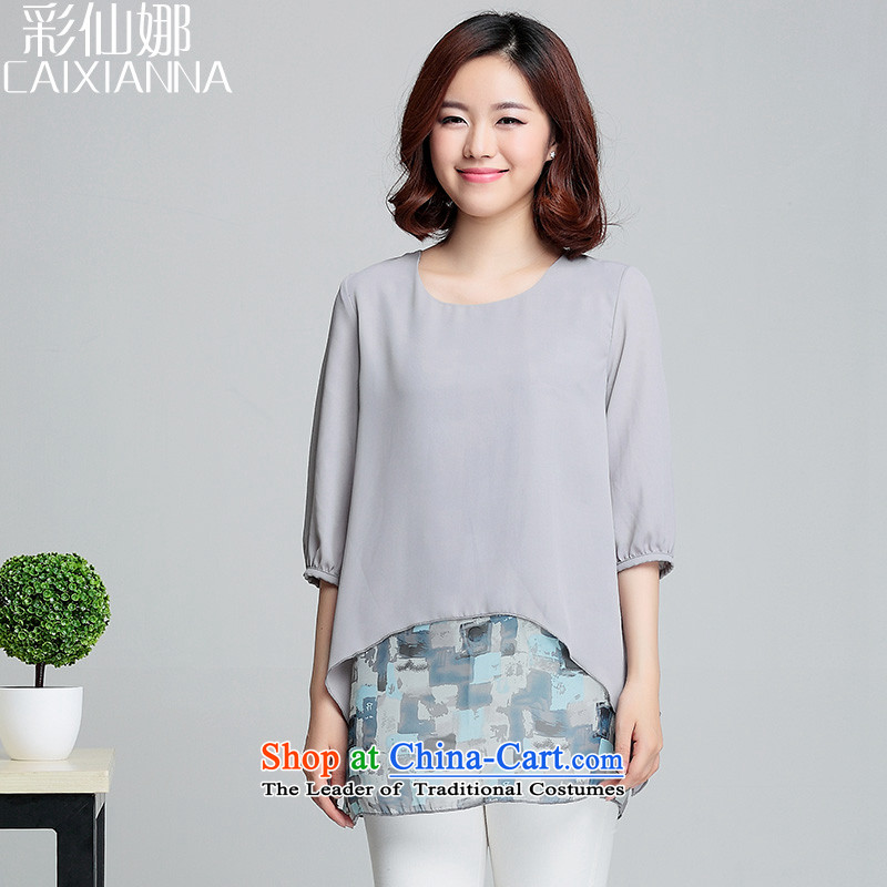 The?2015 summer of sin also new short-sleeved Korean large two-part in false long chiffon T-shirt and gray?3XL(150-170) female