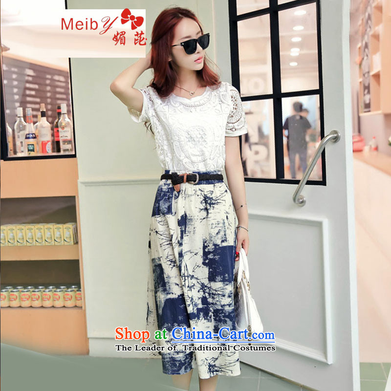 Large meiby female wild summer new Korean version of cotton linen retro two kits body skirt large long skirt skirt�95燘lue L