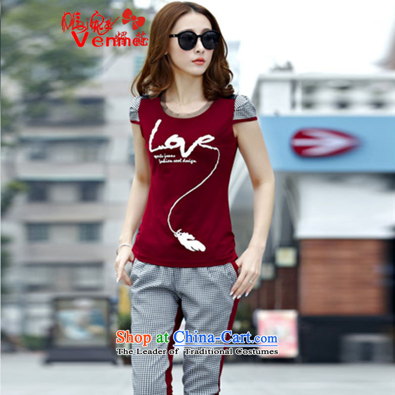 Maximum number of ladies meiby wild real concept of the sportswear female summer new grid larger short-sleeved stylish Sau San leisure wears Capri 6612 wine red燤