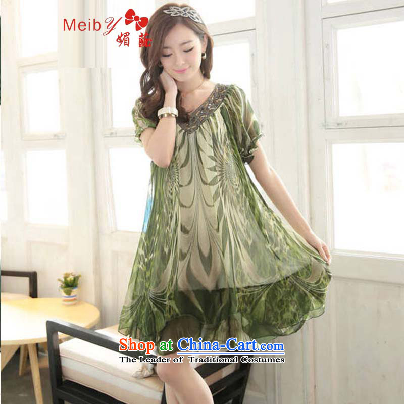 Large meiby female wild Sleek and versatile larger larger women to increase the liberal video thin thick sister short-sleeved large chiffon dresses 1596 Green?XXXL