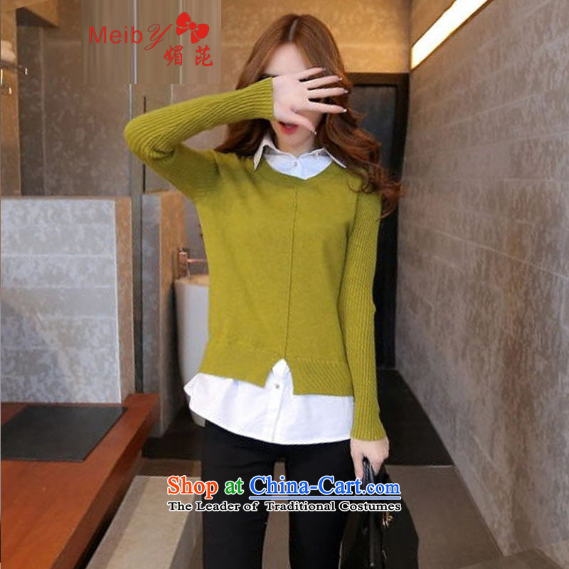 Maximum number of ladies wild woolen pullover female Sleek and versatile large spring new Korean female shirt collar leave two Knitted Shirt, forming the Women 6004 fluorescent yellow shirt燣