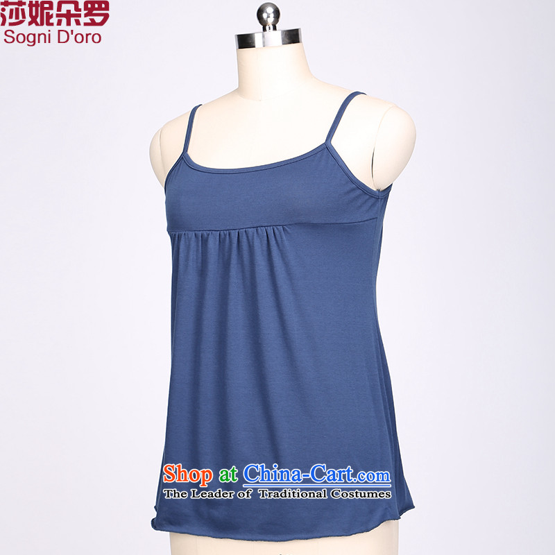 Shani flower lo vest larger female persons 200 catties thick thick sister summer thin stretch of graphics, forming the lifting strap shirt 2222 dark blue 4XL