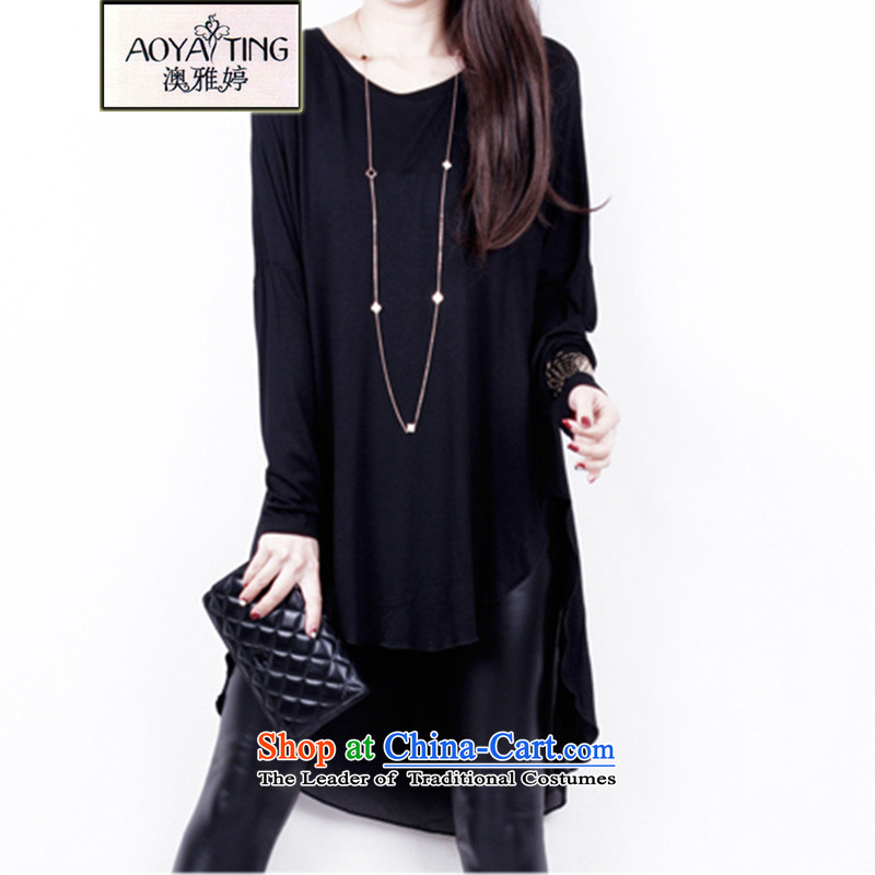 O Ya-ting 2015 Spring New to increase women's code in mm thick long long-sleeved shirt, forming the chiffon black 3XL 160-200 recommends that you Jin