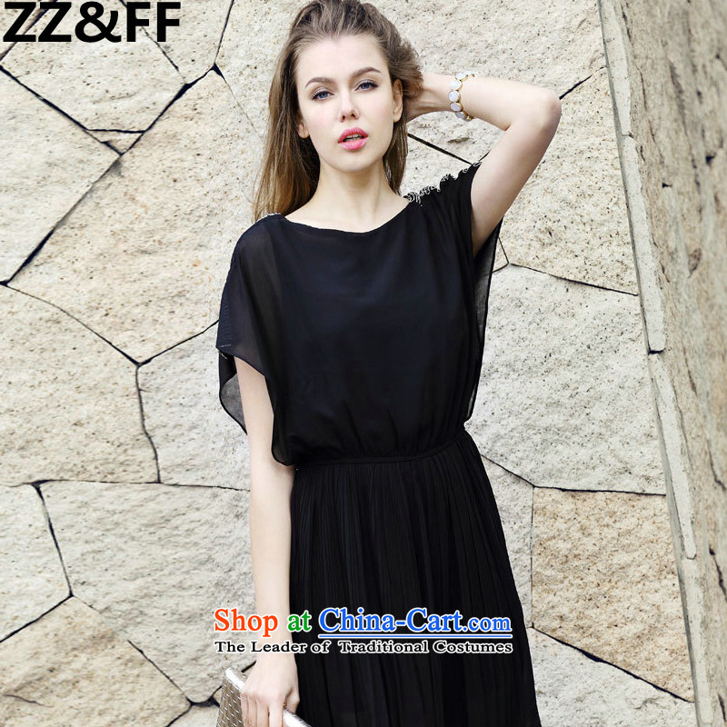 2015 Summer Zz&ff new European sites to increase women's code thick MM200 catty chiffon video thin dresses Black XL