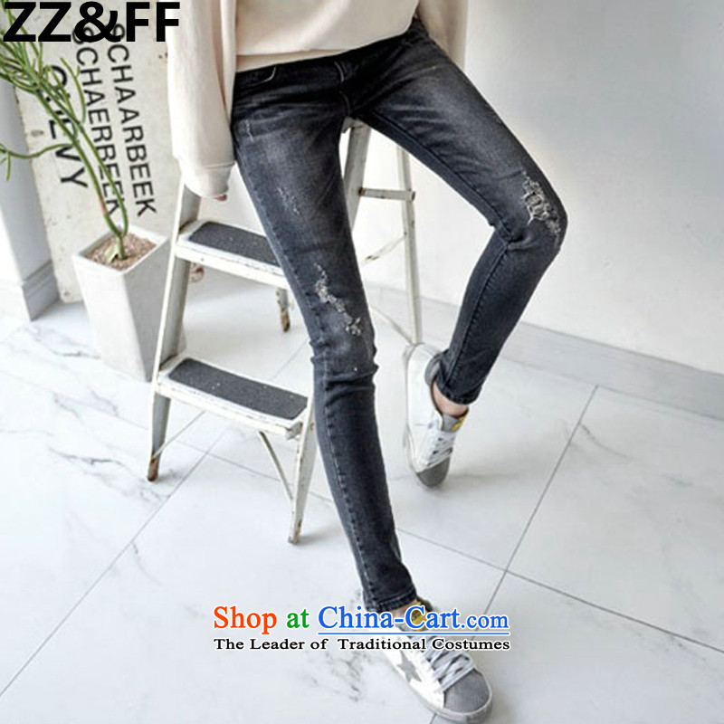 2015 New Korea Zz_ff summer edition to increase the size of the hole to stretch jeans larger female 200 catties thick MM female picture color jeans�