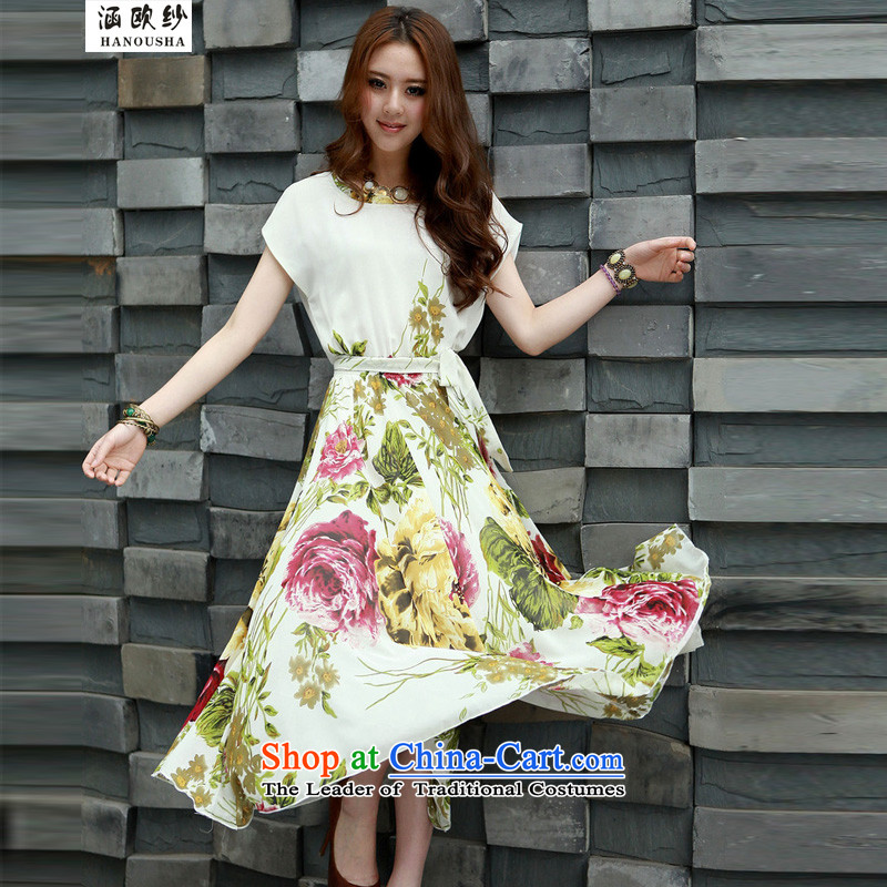 The OSCE yarn covered by summer 2015 Skirt New Bohemia long skirt larger female thick mm solid color graphics thin dresses summer sin White?XL