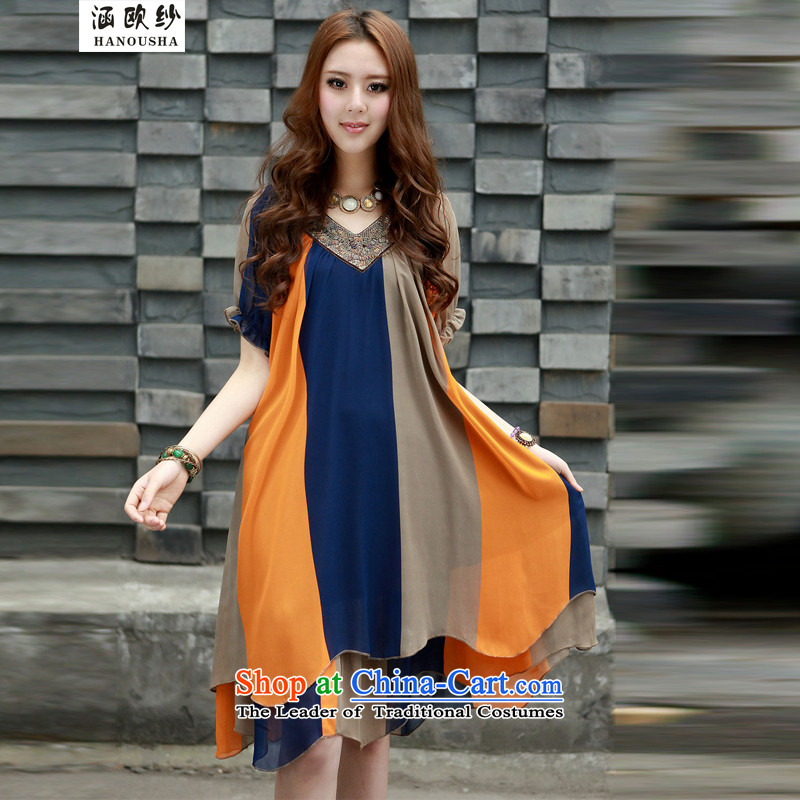 Euro�15 Korea covered by Uganda People to thick edition xl 200 catties thick mm female sister summer loose video thin ice woven dresses orange stripes燤 90 catty -110 catty recommendations