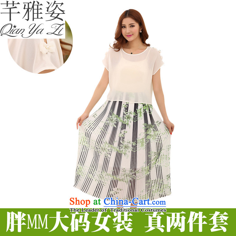 The Constitution of 2015, Hazel new summer beach skirt Bohemia gentlewoman streaks spell chiffon colored long skirt xl two kits dresses short skirts thick mm White XXL approximately 145-165 skirt catty