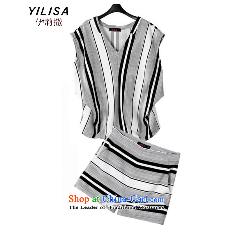 Large European and American women YILISA replacing summer 200 catties thick, Hin thin, temperament leisure thick sister streaks shorts, short-sleeved T-shirt K572 kit map color?XL suitable for 100-120 catty