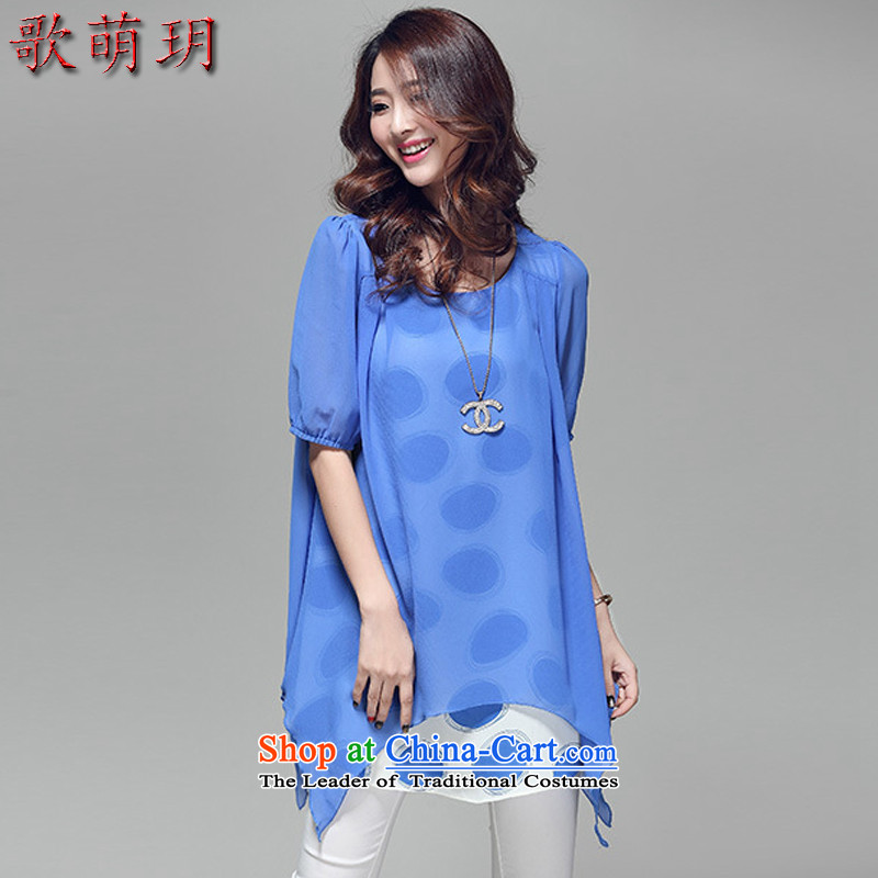 Song Of Yue XL Women's Summer new graphics in thin long leave two chiffon shirt R5010 light blue�L_165-180 catties_