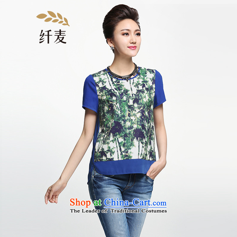 The former Yugoslavia Migdal Code women 2015 Summer new fat mm floral stitching short-sleeved T-shirt, long suit?5XL female 952362351