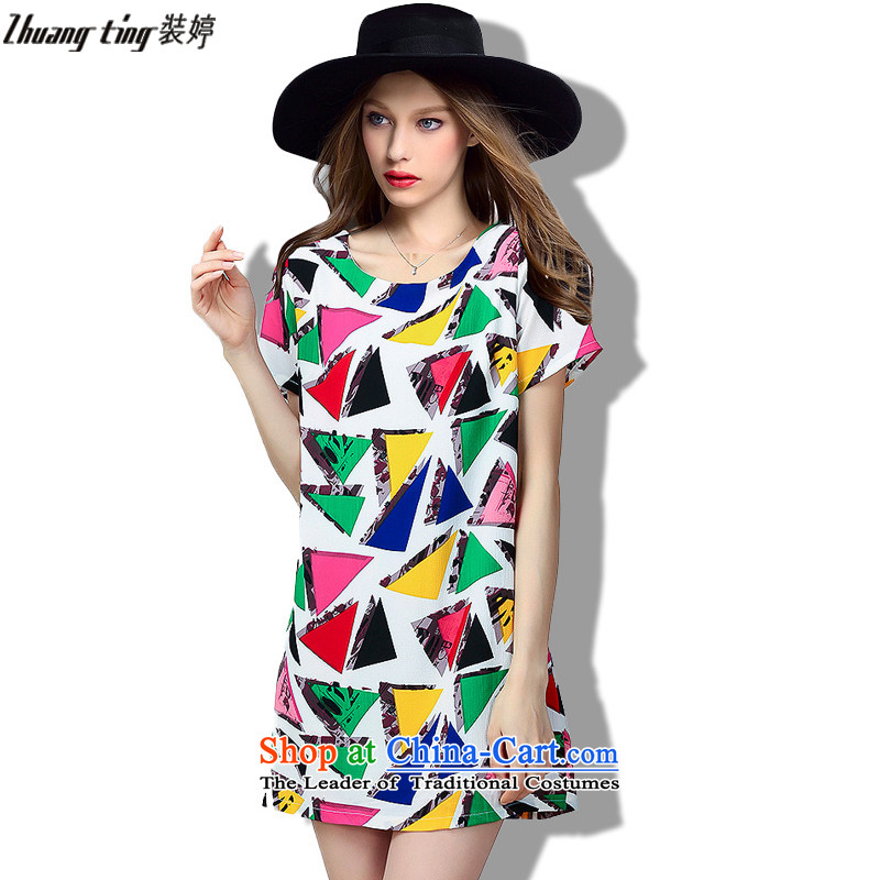 (replace as soon as possible, Hin Ting thick 2015 Summer thin new high-end western thick mm maximum code to increase women's loose short-sleeved chiffon dresses picture color?5XL 323