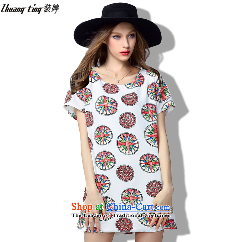 Replace, Hin thick ting thin 2015 Summer thick mm large wild women to intensify the loose short-sleeved dresses 333 m White燲L