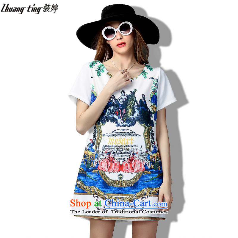 Replace, Hin thick zhuangt ting thin 2015 Summer thick mm large wild women to intensify the loose short-sleeved dresses 60363 color picture�L