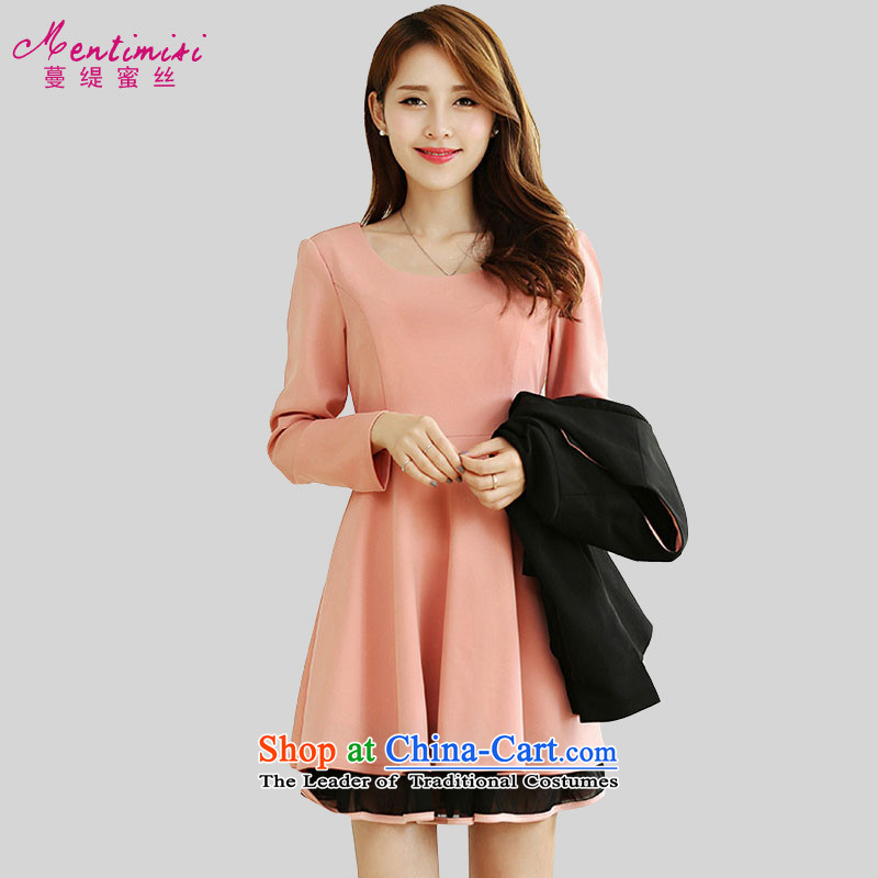 Golden Harvest autumn 2015 population honey economy with new XL Ladies Blouses and long-sleeved Sau San video thin dresses solid color thick MM omelet before dresses pink 3XL_ 2,679 recommendations 150-165¨catties_