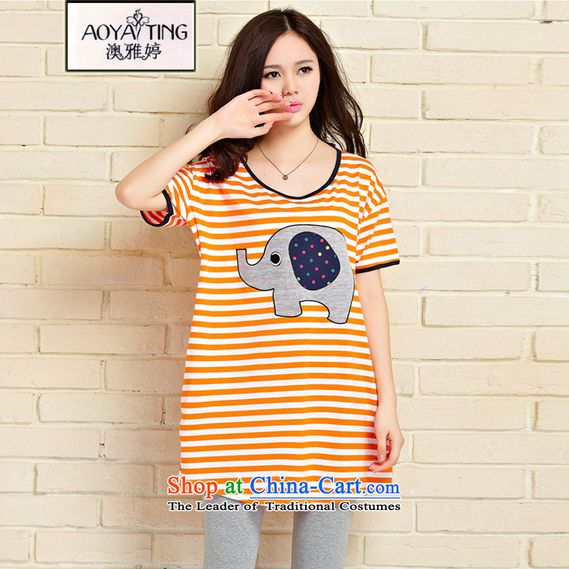 O Ya-ting�15 Summer new to increase women's burden of code 200 mm thick cotton short-sleeved T-shirt video thin-sleeve T-shirt and a half large orange will recommend that you 100-220 catty