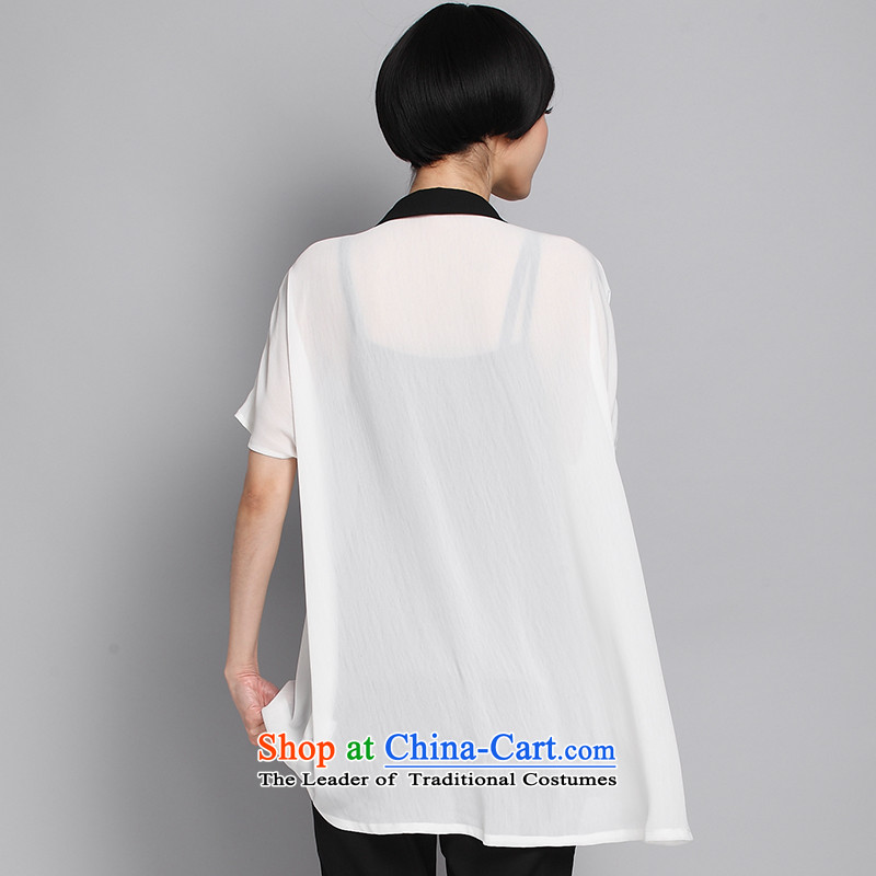 Of staff to increase the burden of 200 yards women thick mm long in the summer lapel short-sleeved chiffon white shirt cardigan relaxd the large white code 1356 XL 120 around 922.747, suitable for staff (smeilovly pixel) , , , shopping on the Internet