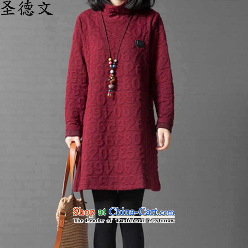 The�15 autumn german new larger female thick MM to intensify the long saika stitching forming the long-sleeved dresses female autumn and winter wine red燲XL