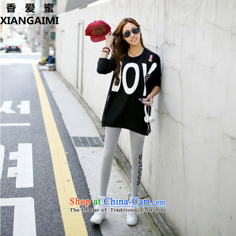 Install the latest Autumn 2015 Zz_ff_ larger female 200 catties thick mm stylish stamp letter sweater pants kit two kits two kits picture color XXXXXL_ recommendations 180-200 catties_