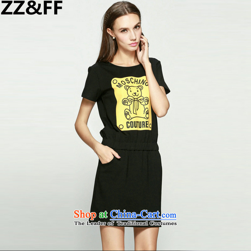 The new summer 2015 Zz_ff larger female 200 catties thick MM stylish cubs stamp short-sleeved dresses燲XXL color picture