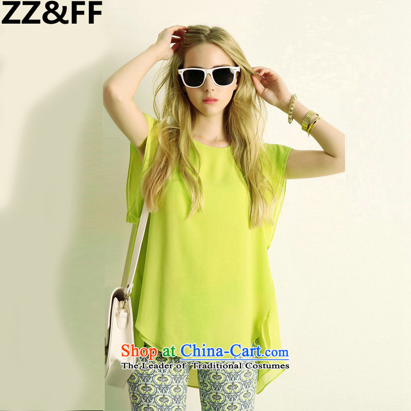 The new summer 2015 Zz_ff larger female 200 catties thick MM stylish short-sleeved shirt shorts chiffon leisure sports suits two kits shirt +燲XXXXL Shorts