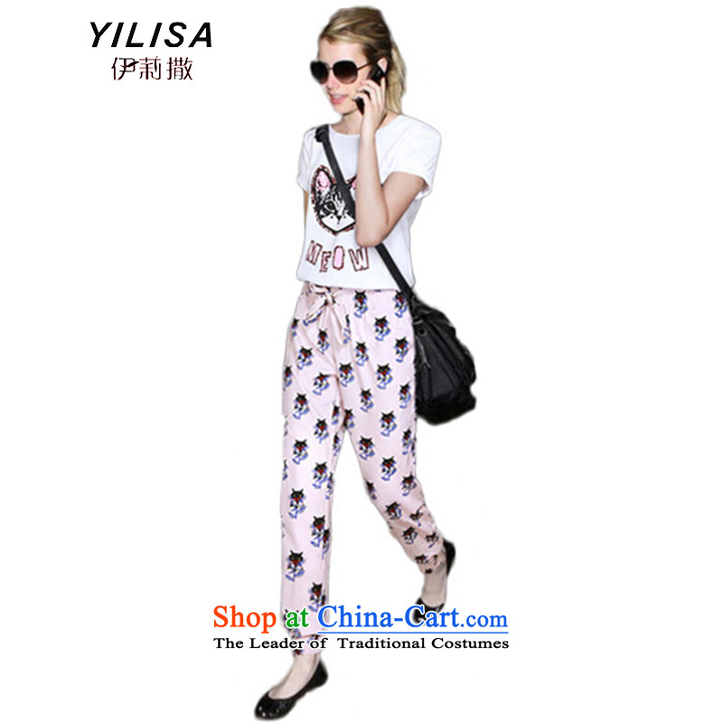 Large European and American women YILISA2015 loaded thick mm summer short-sleeved T-shirt to graphics thin chiffon castor trousers Harun leisure wears pants M322 map color燲L suitable for 100-130 catty