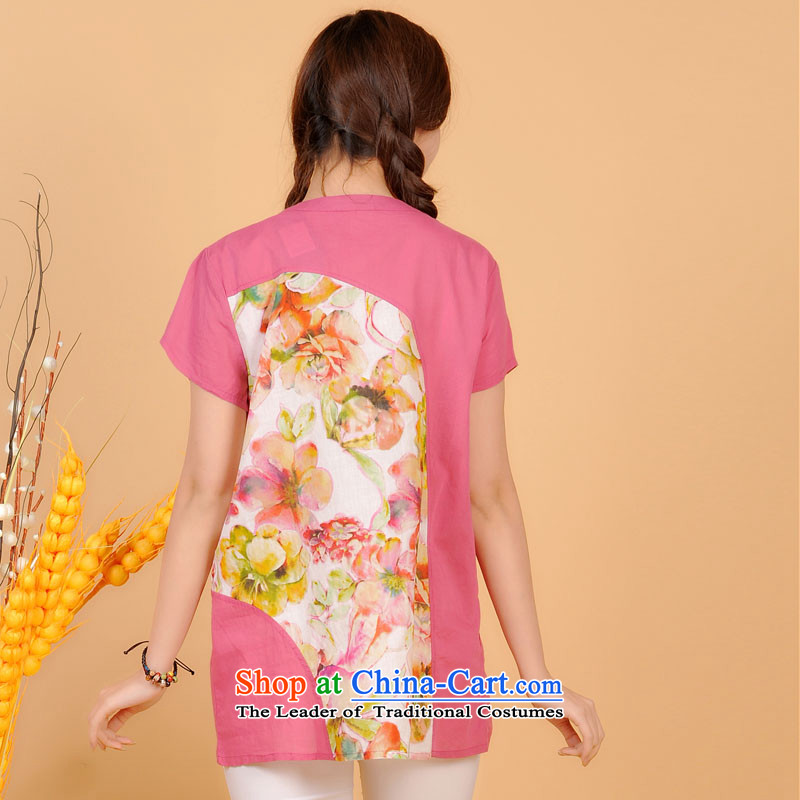 The sea route take the Korean version of the new round-neck collar short-sleeved pure cotton ink stamp general, large relaxd summer shirt 5G4705 West Sea Route XL, pink flower , , , shopping on the Internet