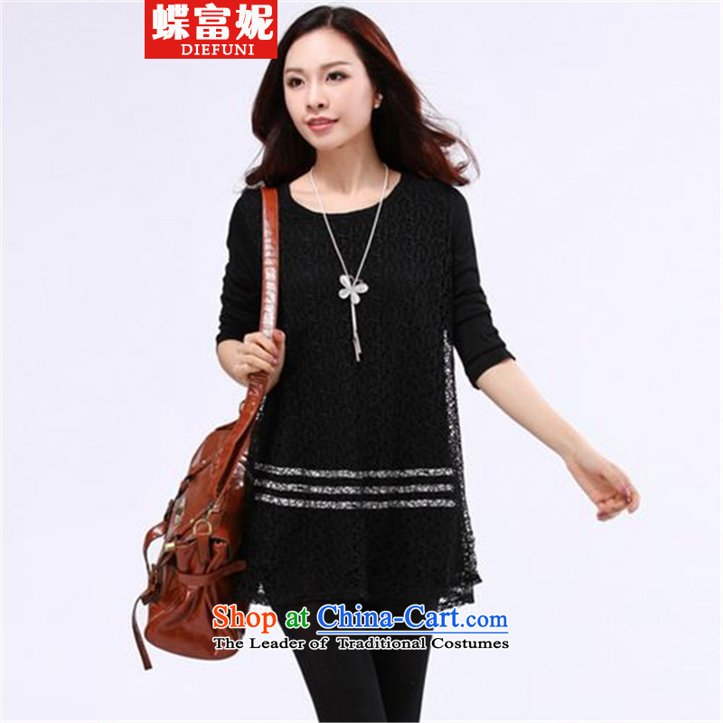 Butterfly fu ni� 2015 to increase the number of female graphics thin winter thick Korean forming the sister of the Netherlands T-shirt black large code 4XL