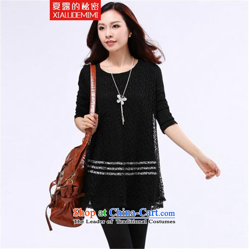 Summer terrace secret 2015 to increase the number of female graphics thin winter thick Korean forming the sister of the Netherlands T-shirt black large code 4XL