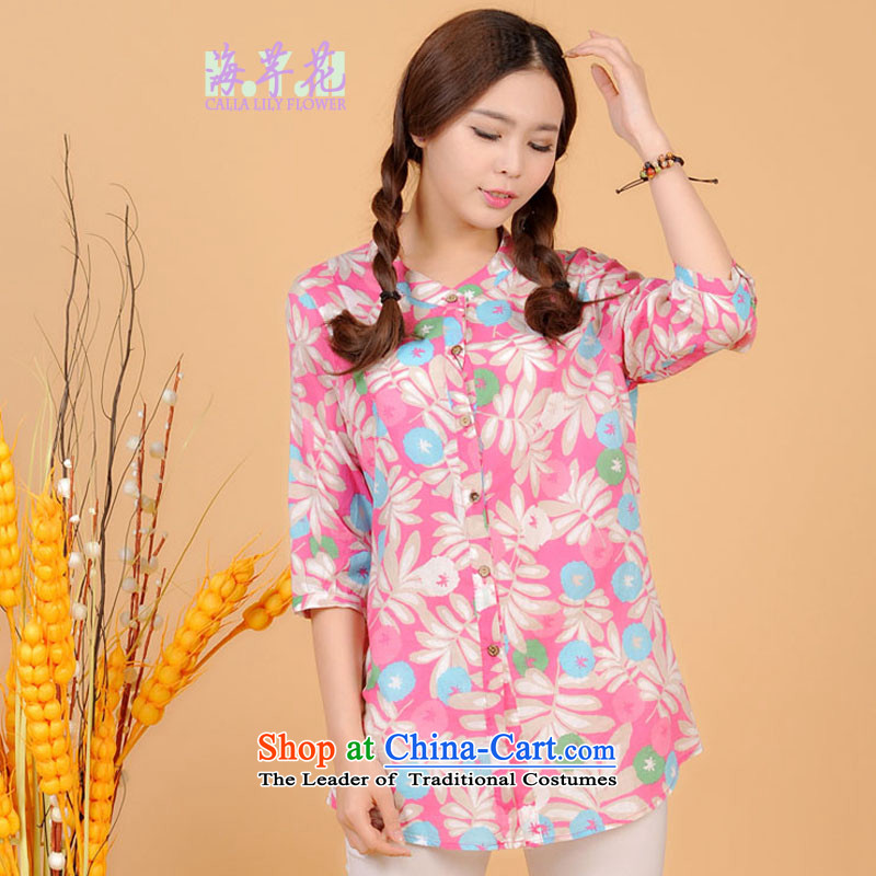 The sea route take the Korean version of the new Small collar 7 cuff pure cotton small large floral shirt spring and summer loose increase female clothes 5L4705�L light pink