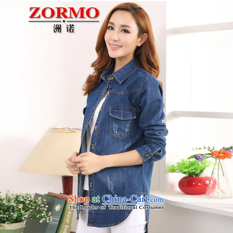 燱estern women in spring and autumn ZORMO in long large cowboy shirt thick mm to xl casual shirt, blue燲XL