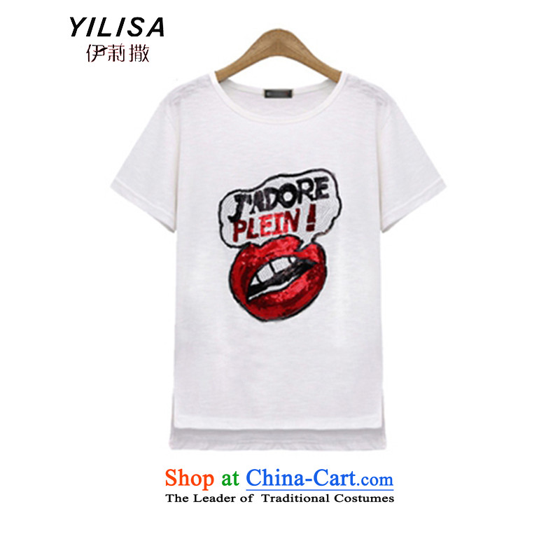 Summer in Europe for larger YILISA blouses thick mm summer Korean loose video in thin long Leisure letter slice short-sleeved T-shirt K883燲XXL White