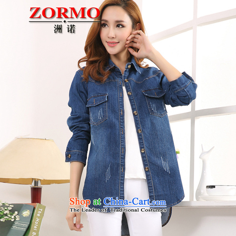 燣arge ZORMO women during the spring and autumn large long-sleeved shirt and Cowboy Code mm to xl leisure cowboy�L blue shirt