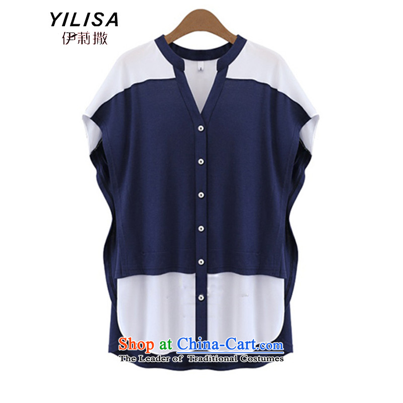 Europe and the new maximum YILISA code blouses thick mm summer relaxd stylish wild in long stitching knocked color Mock-Neck Shirt K862 bat sleeves dark blue4XL