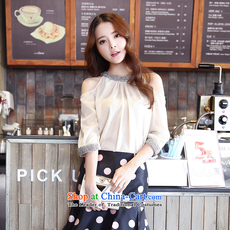 American Samoa Nika larger female thick mm spring loaded 2015 Korean New Graphics thin lace pearl nail collars round-neck champagne color聽XL