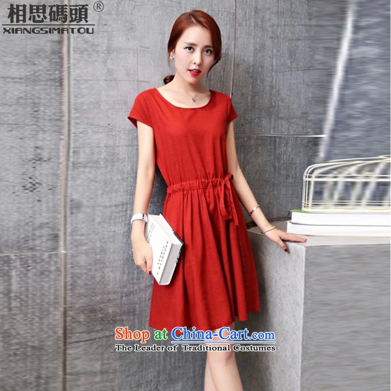 AcaciaSummer 2015 new pier cotton linen dress code version of large Korean loose linen dresses cotton linen dress wine redS