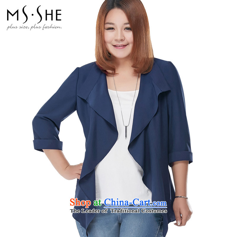 Msshe xl women 2015 new fall inside the lapel billowy flounces pure color chiffon jacket blue�L 2946