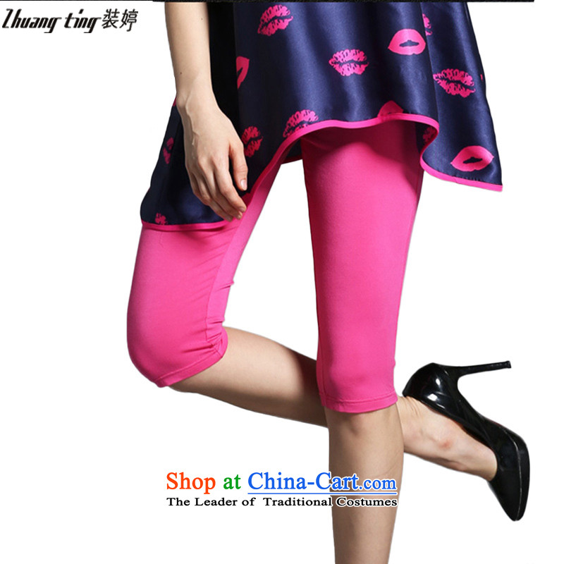 Replace Ting zhuangting thick people 2015 Summer larger female high-Western Pure color cotton capri pants, forming the elastic wild in the red in 1903燲L
