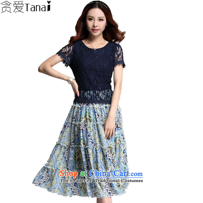Coveted summer new Korean chiffon lace stitching short-sleeved in long thick MM larger women's dresses 3555 Blue燲XXXL
