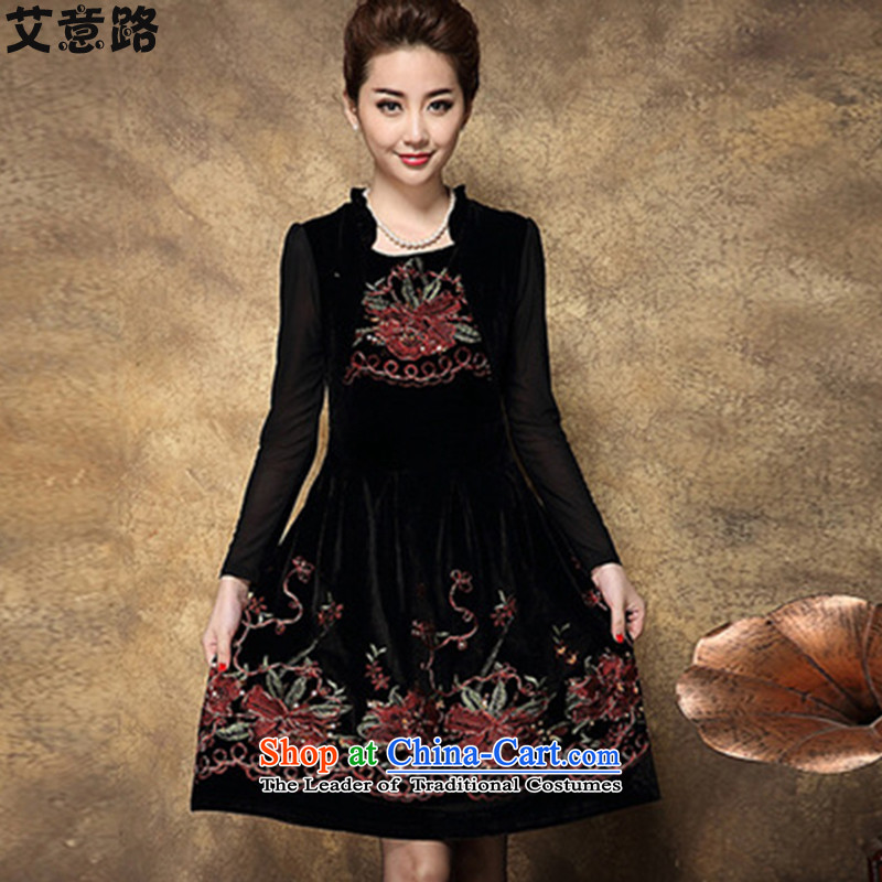 To the great number of women in the autumn of my mother replacing older new embroidery dresses燲XXL 1992 Red
