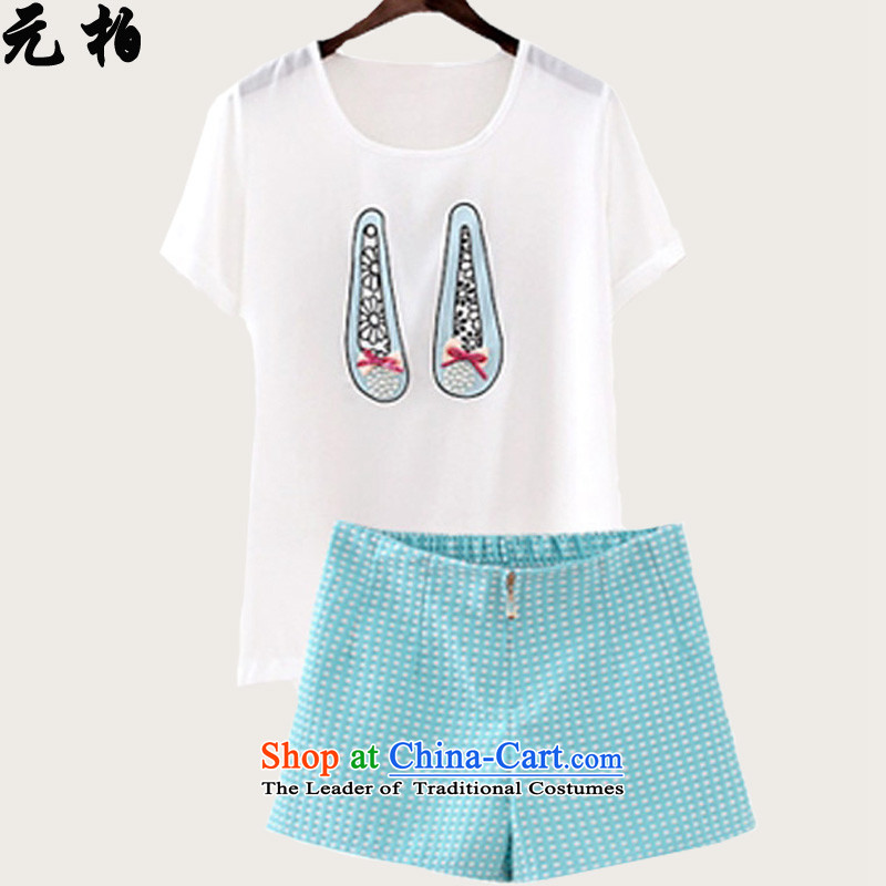 In the summer of Pak short-sleeved T-shirt chiffon two kits large western dress shorts MM thick white Kit + Blue 1832 2XL around 922.747 Paras. 135-145