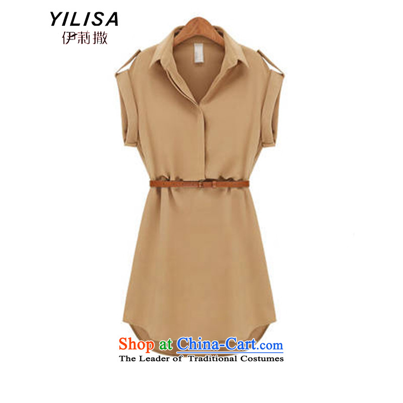 The new summer Europe YILISA2015 larger women's summer skirt belt Foutune of dresses female short-sleeved bow tie dresses Y5213 apricot XXXL