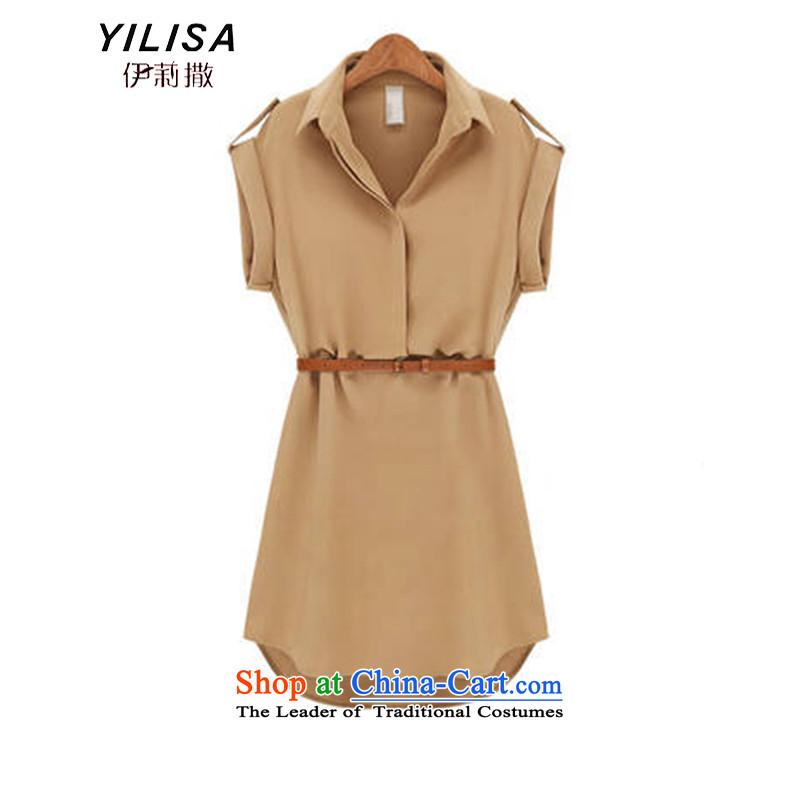 The new summer Europe YILISA2015 larger women's summer skirt belt Foutune of dresses female short-sleeved bow tie dresses Y5213 apricotXXXL