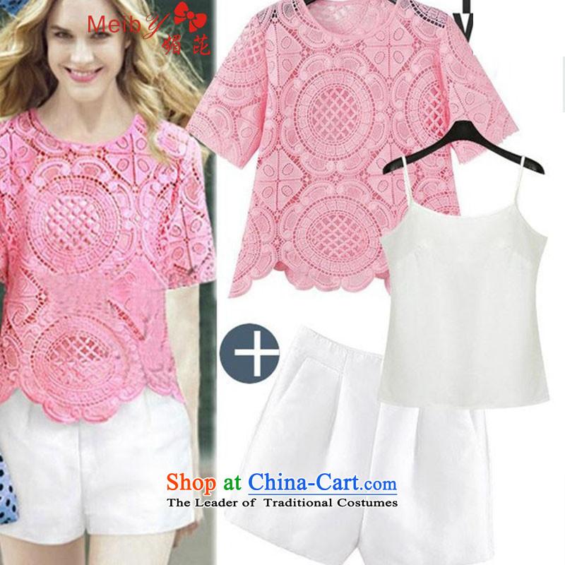 Large meiby female wild summer short-sleeved T-shirt chiffon lace shorts two kits and stylish lounge aristocratic small wind Kit5107 Heung-WhiteXL