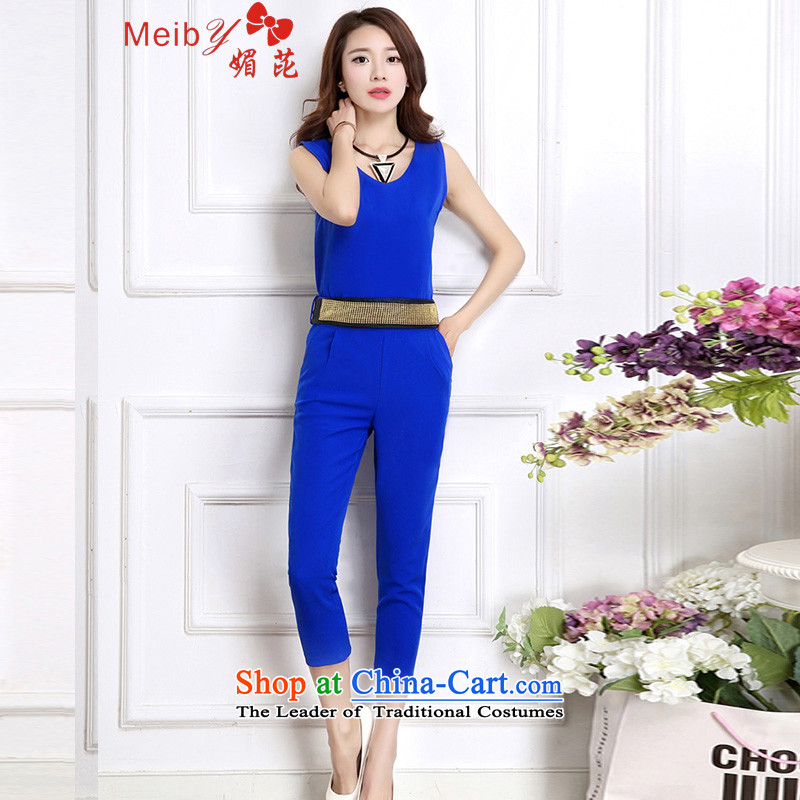Maximum number of ladies wild-trousers and stylish large wild spring and summer New Women Korean Sau San video thin sleeveless chiffon V-Neck Castor 7聽Blue聽S to 9120 trousers belts