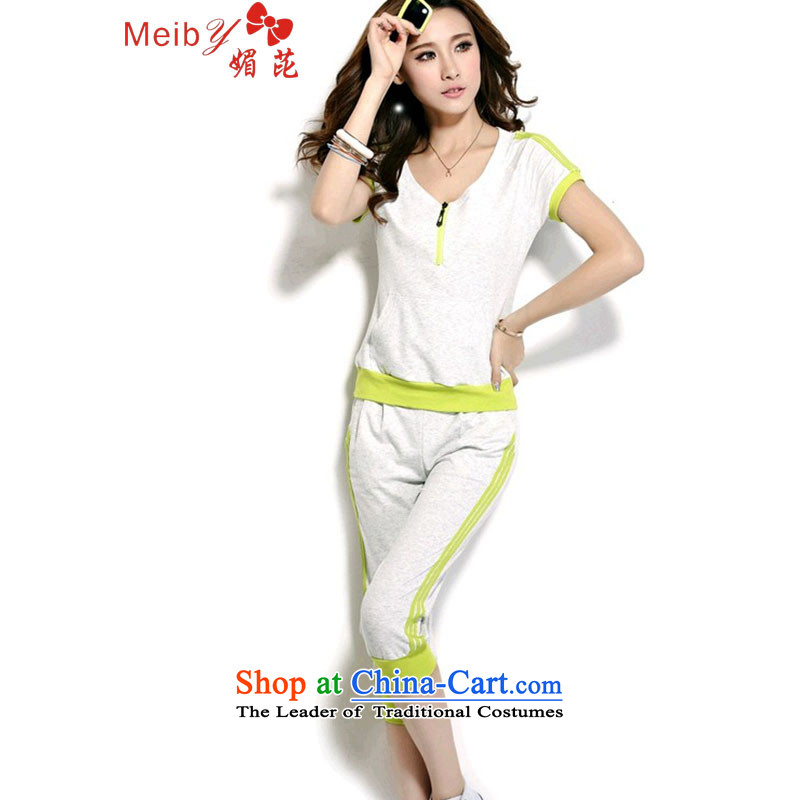 Large meiby female wild Sleek and versatile large leisure package women summer Korean sports suits women short-sleeved two kits8861Light GrayM
