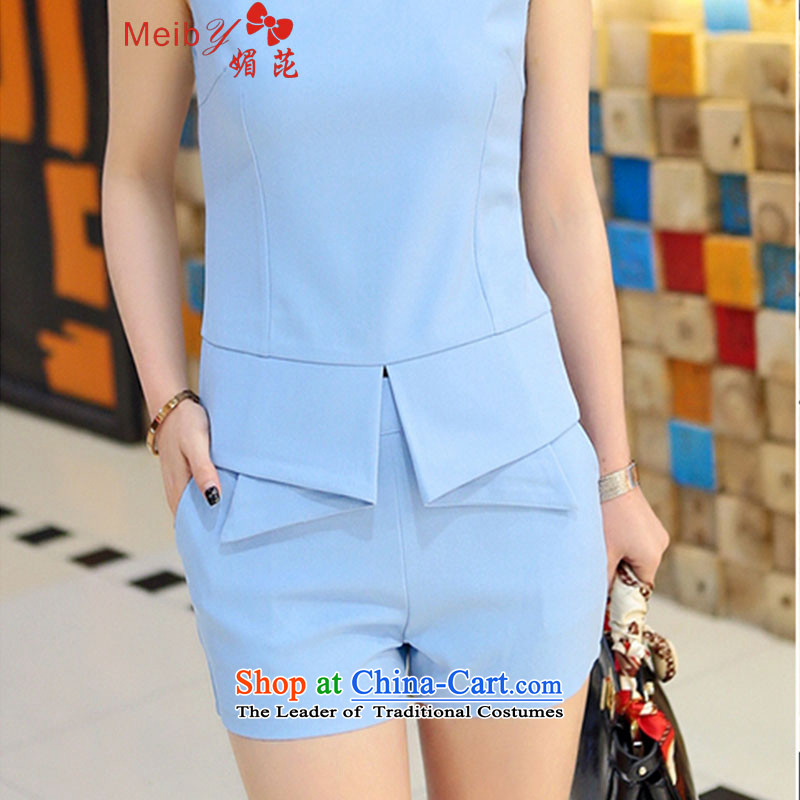 Large meiby female wild summer new ladies casual Korean version of large numbers of small stylish incense in temperament shorts Kit 6863 femaleM Blue
