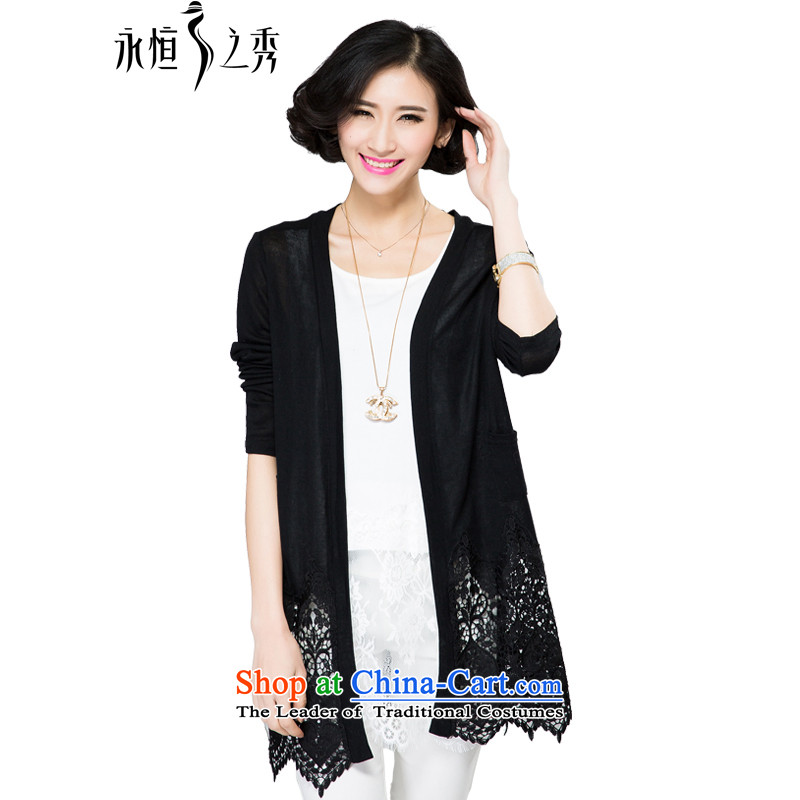 The spring and summer of 2015 mm thick new larger female mahogany and lace stitching spring and summer wild cardigan small black jacketXL